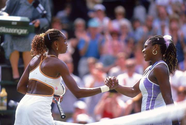 Venus rocks one of her signature cutout tennis outfits at Wimbledon in 2000