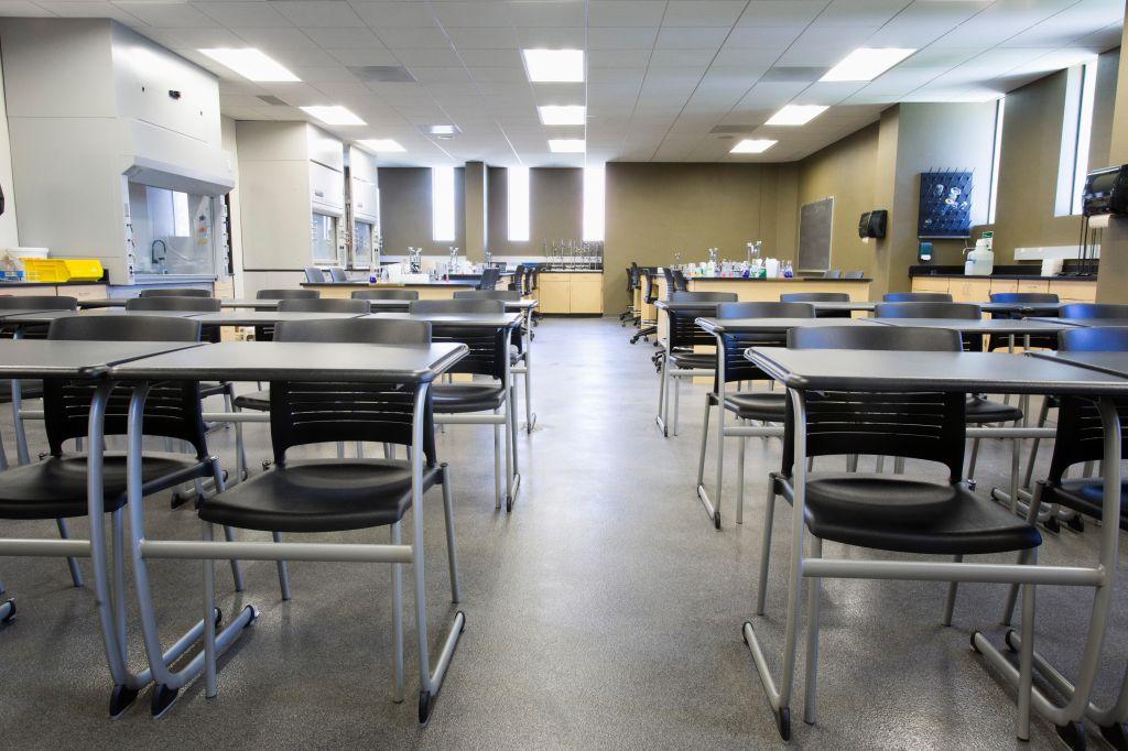 Empty desks in classroom
