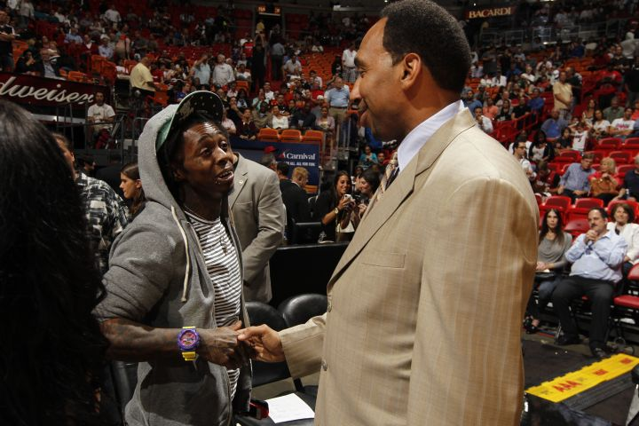 Lil Wayne is a sports fan and pretty good pals with Stephen A. Smith.