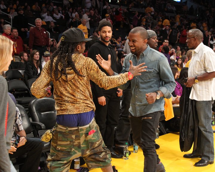 Yeezy and Weezy always show love when they're around each other.