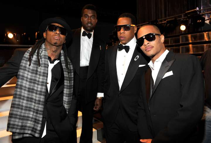 No one on the corner has swagger like Weezy, 'Ye, Jay and Tip.