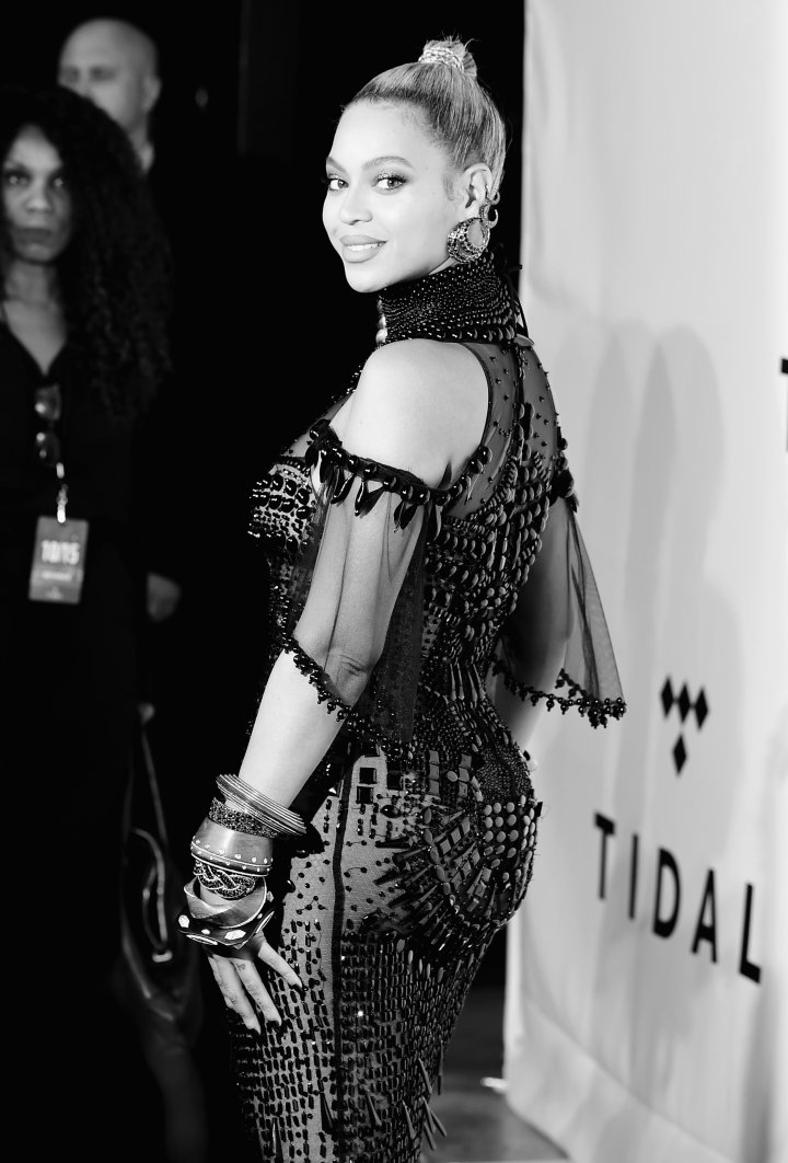 Beyoncé looks back at it.