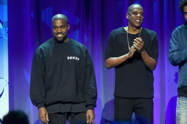 Jay Z and Kanye West at the official TIDAL launch event.