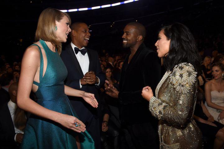 Hov & Ye mingling at the 2015 Grammy Awards