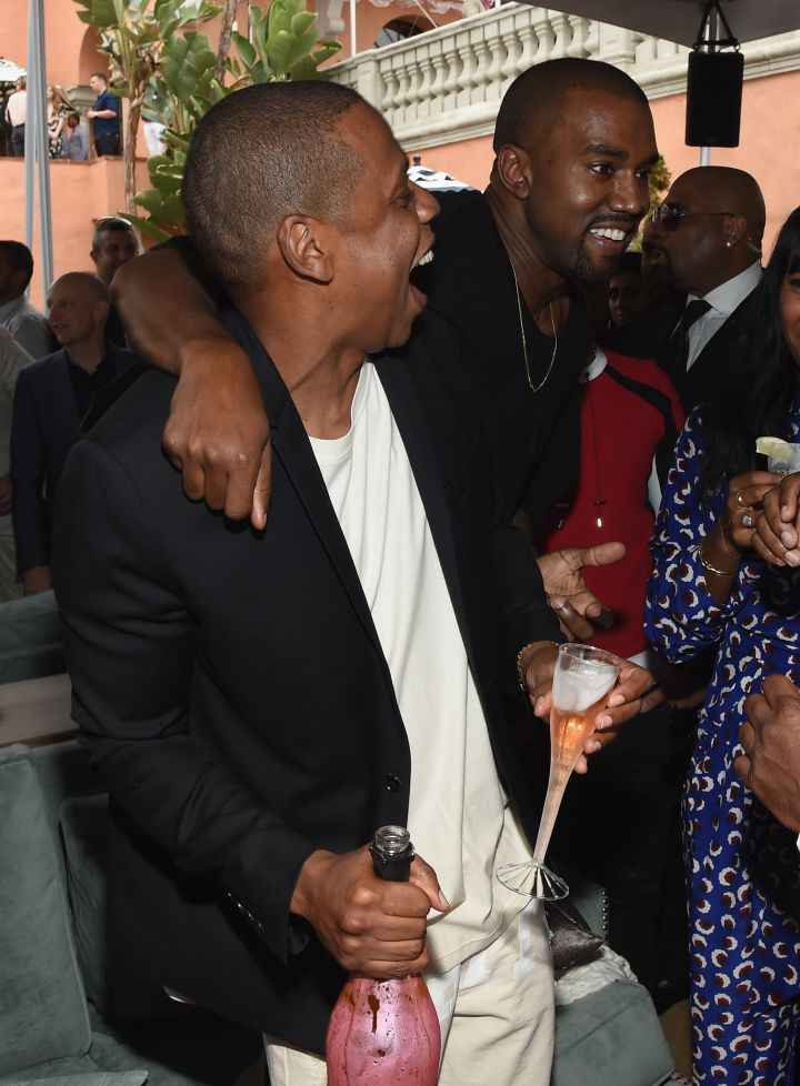 Jay Z and Kanye bro out at the Roc Nation Pre-Grammy brunch.