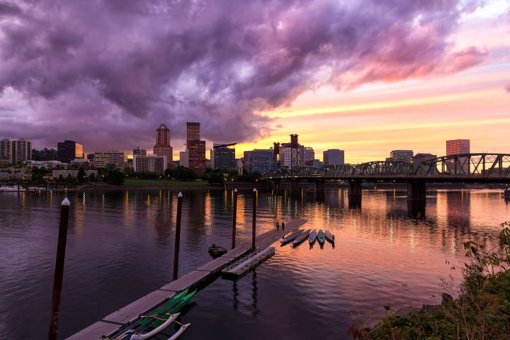 Sunset over Portland Downtown Skyline