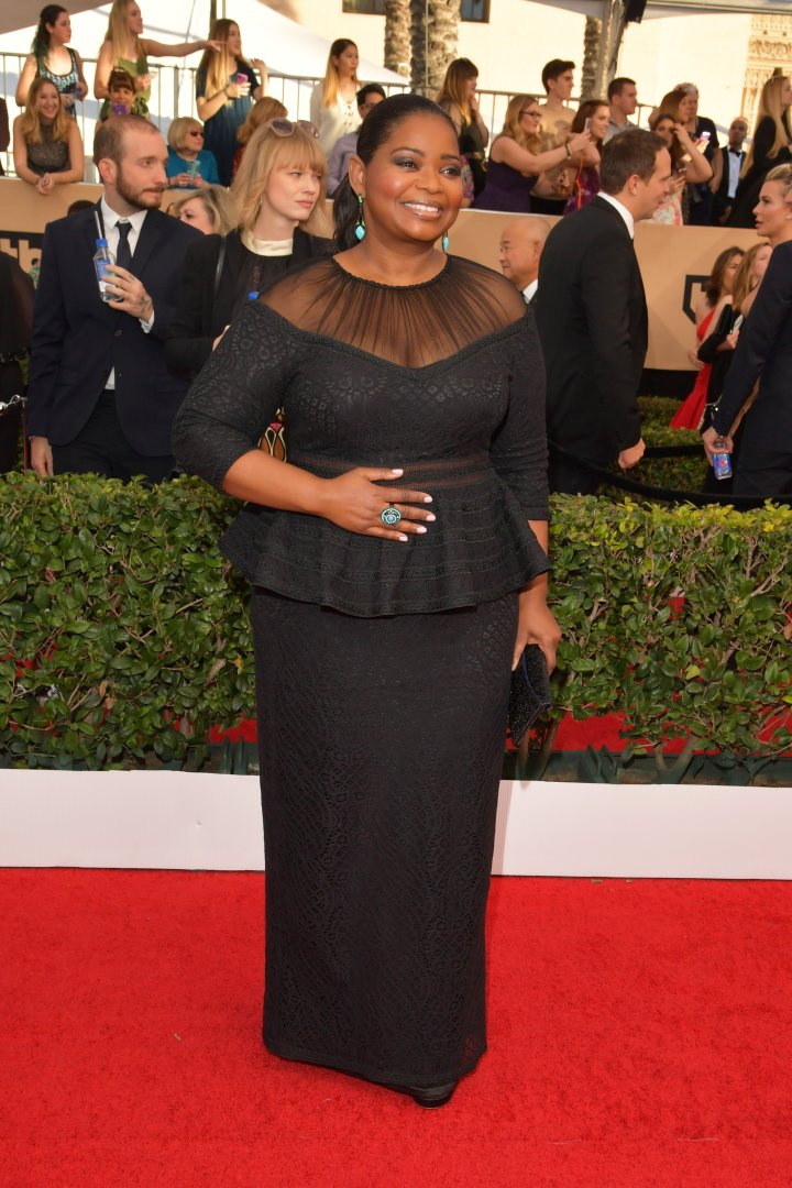 Octavia Spencer was all smiles in her classic black ensemble.