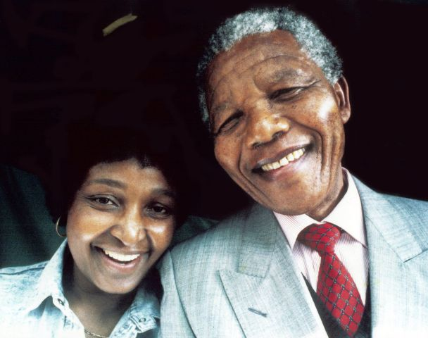 Former President Nelson Mandela and his wife, Winnie Madikizela Mandela.