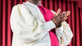 Cropped view of black man in church choir robe