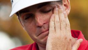 Keegan Bradley of the US cries as he rec