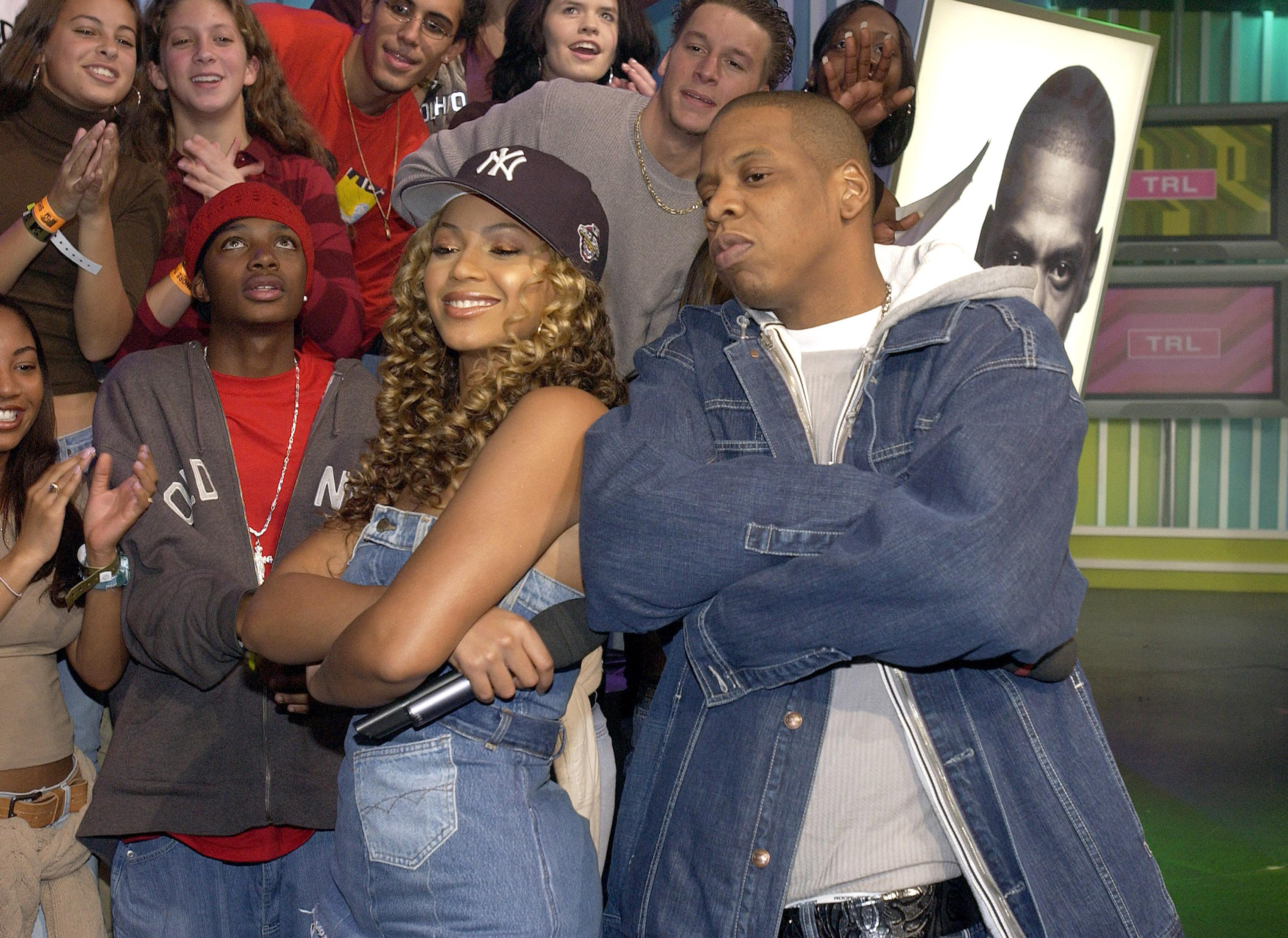 'Spankin' New Music Week' with Jay-Z, Beyonce Knowles and Solange Knowles on MTV's 'TRL' - November 21, 2002