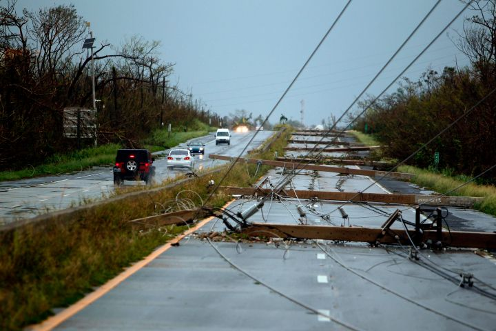 Luquillo, PR: Concrete power line poles lie on a highway.