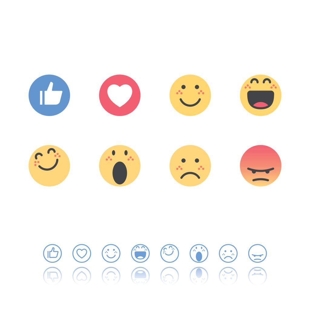 Set of flat design and line art emoticons