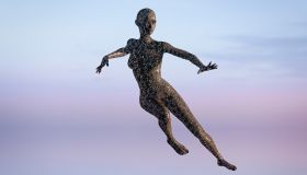 Reflection of futuristic woman dancing in sky