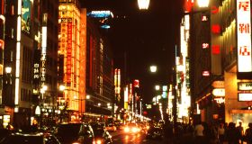Japan, Tokyo, Traffic on busy Ginza street at night