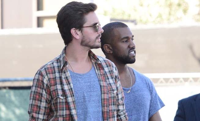 Kanye West and Scott Disick bond in matching shirts as they go shopping in Beverly Hills