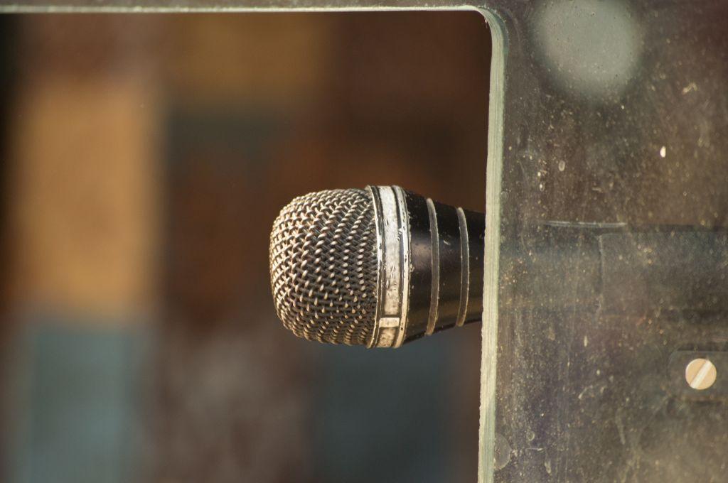 Vintage Microphone on window