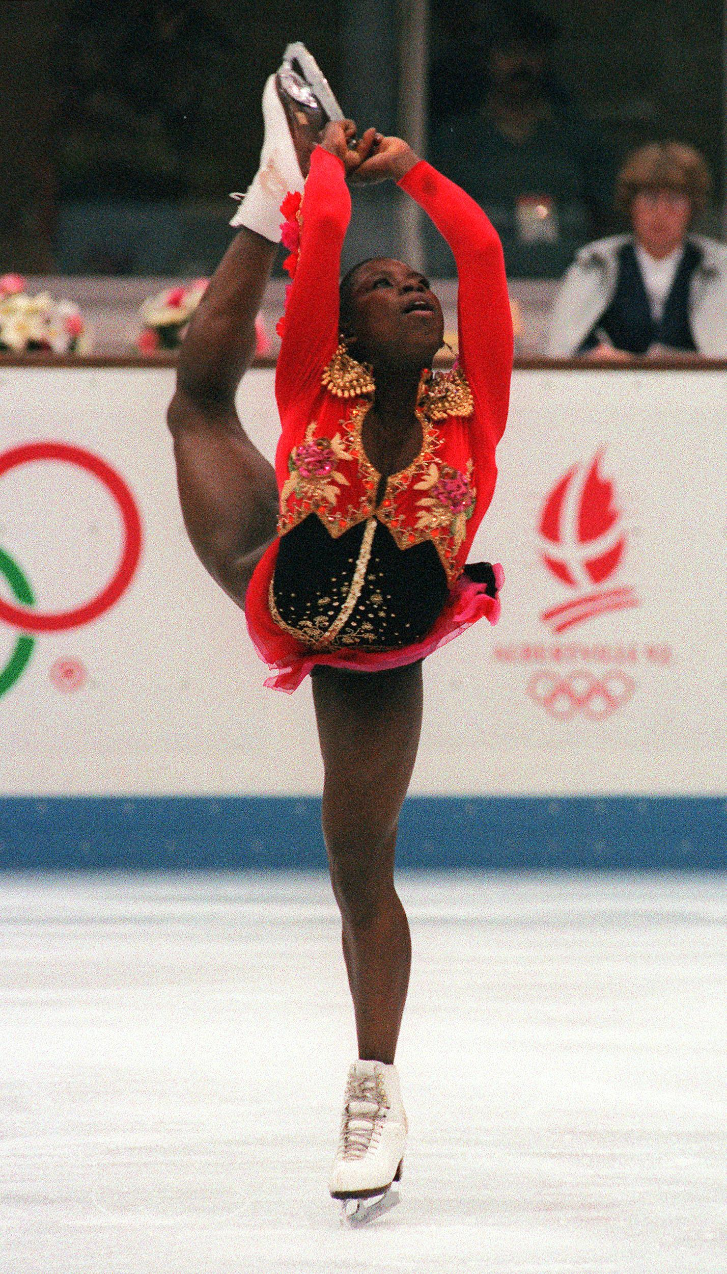 French figure skater Surya Bonaly performs her fre