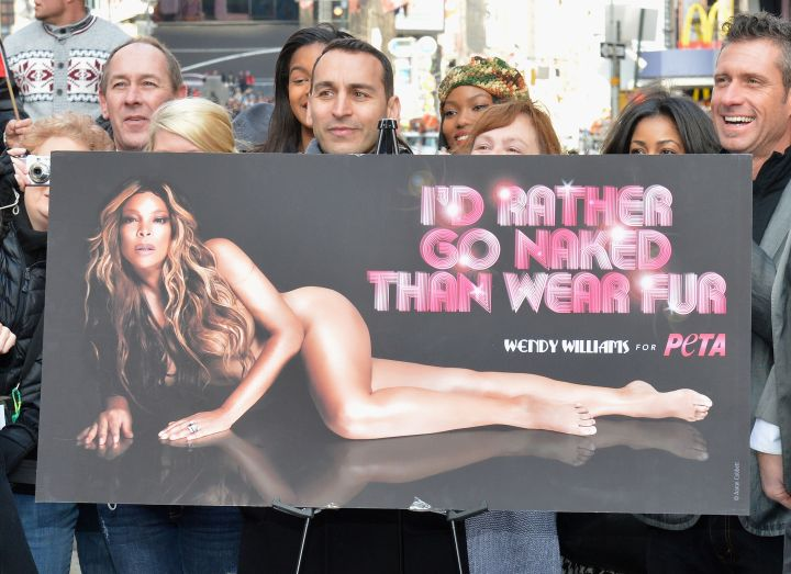 """1. Wendy Williams poses for PETA's """"I'd Rather Go Naked Than Wear Fur"""" ad campaign."""