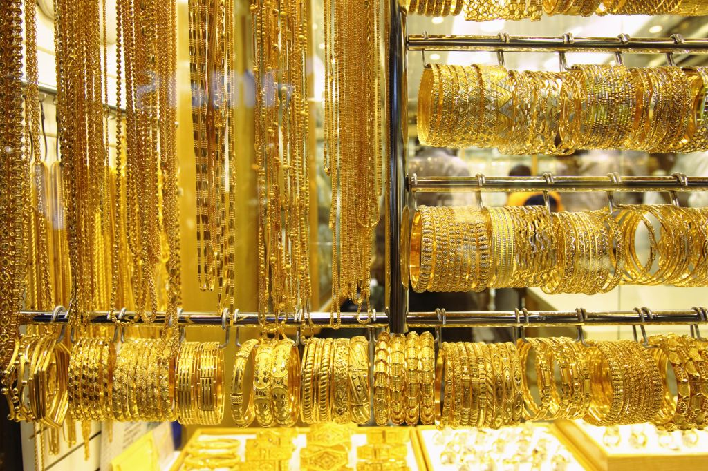 Gold jewelry on display in shop