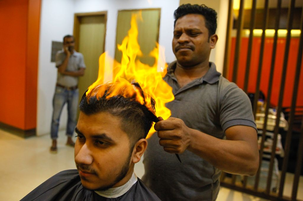Hair Cutting with Fire