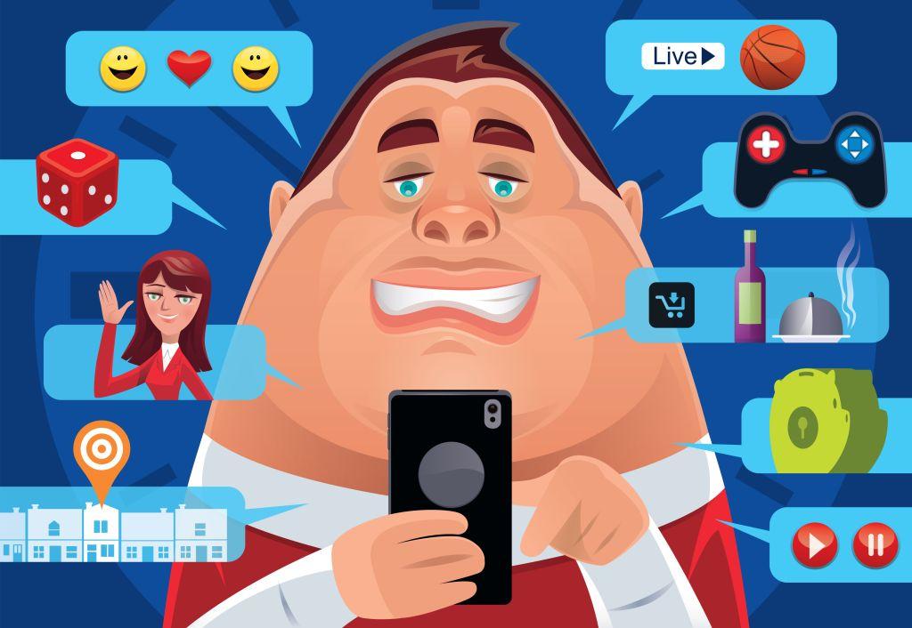 fat man having fun with smartphone