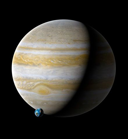 Earth compared to Jupiter, illustration