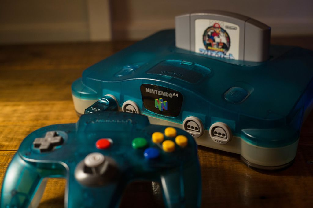 A Japanese edition of the Nintendo 64 clear blue version...