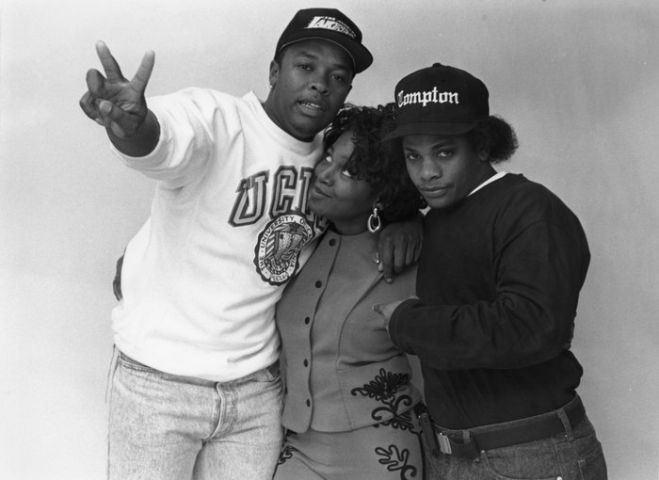 Michel'le with Dr. Dre and Eazy-E