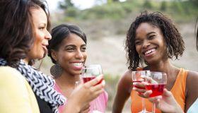 Best Friends enjoying wine