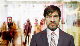 Facial recognition of Caucasian businessman