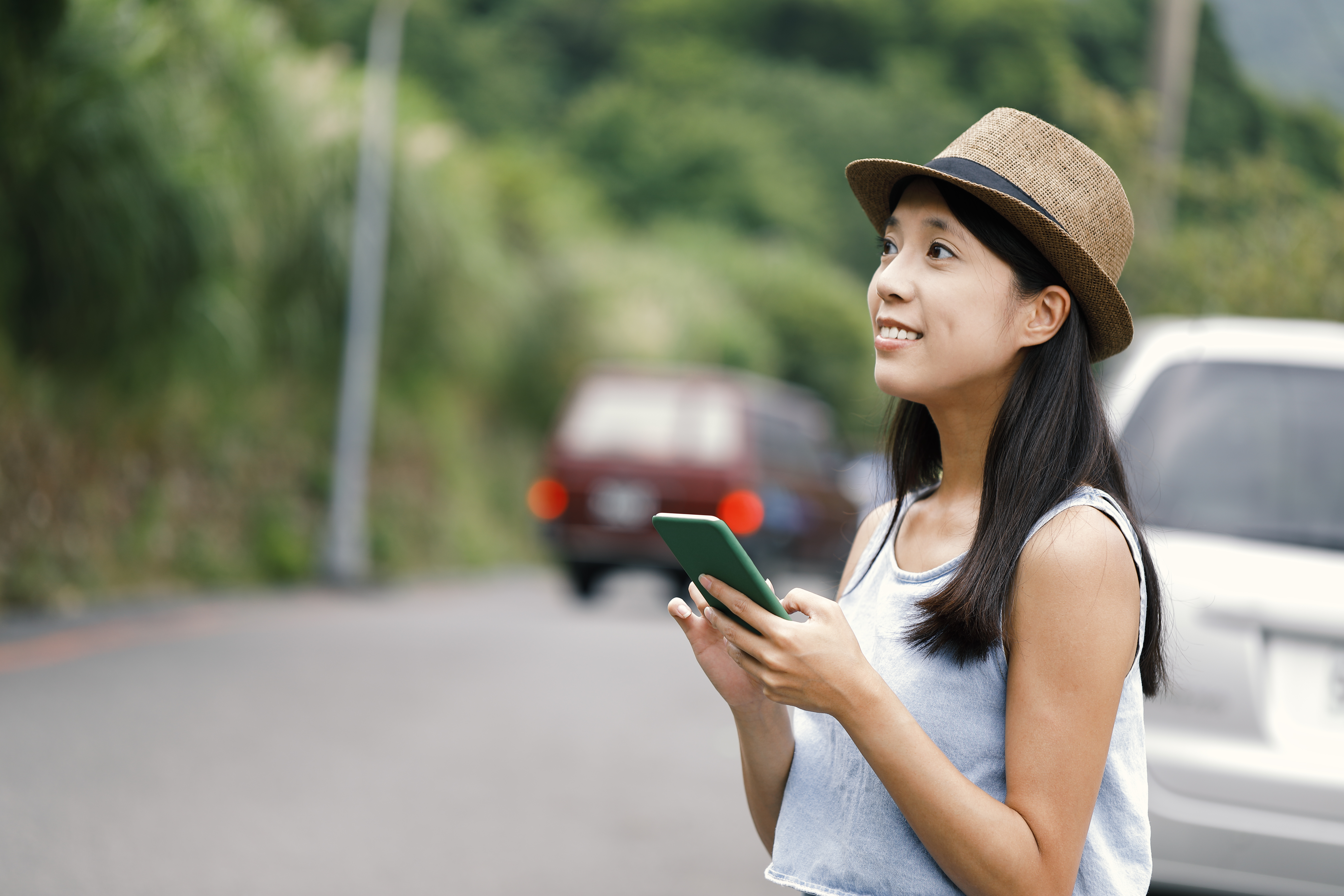 Woman using mobile phone navigation