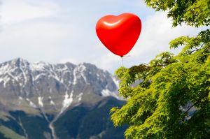 Red heart balloon, Nordkette, Tyrol, Austria