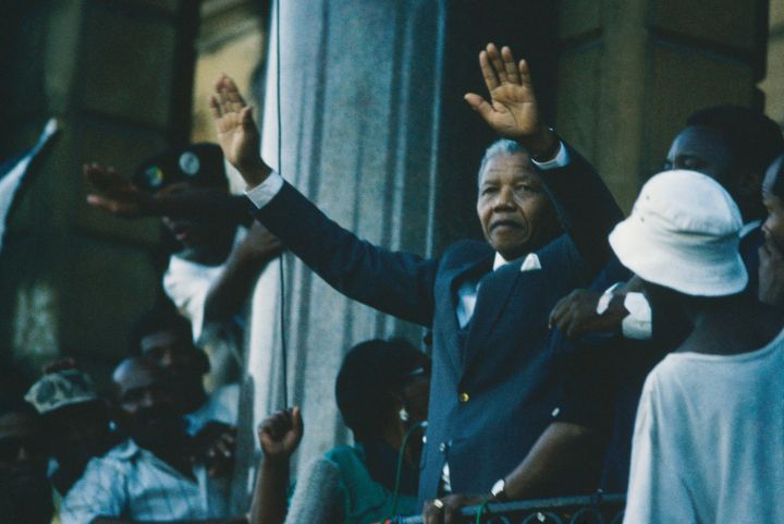 Mandela greets supporters after his release from prison.