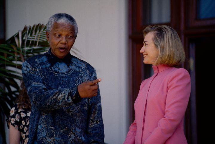 Mandela With Hilary Clinton.