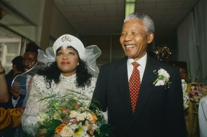 Mandela with his daughter Zindzi Mandela at her 1992 wedding in Soweto.