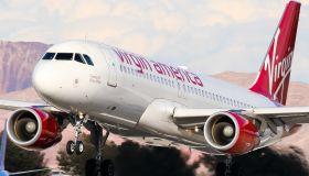 A Virgin America airlines seen landing in Las Vegas...