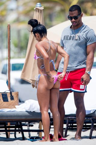 Karrueche Tran & Victor Cruz enjoy a day at Miami Beach