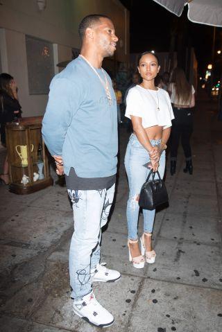 Karrueche Tran & Victor Cruz at Delilah in West Hollywood