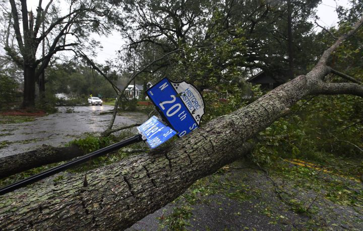 Hurricane Florence causes damage to the roads ib Wilmington.