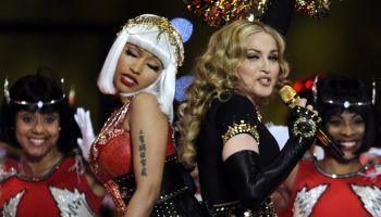 Singer Madonna (L) and Nicki Minaj perfo