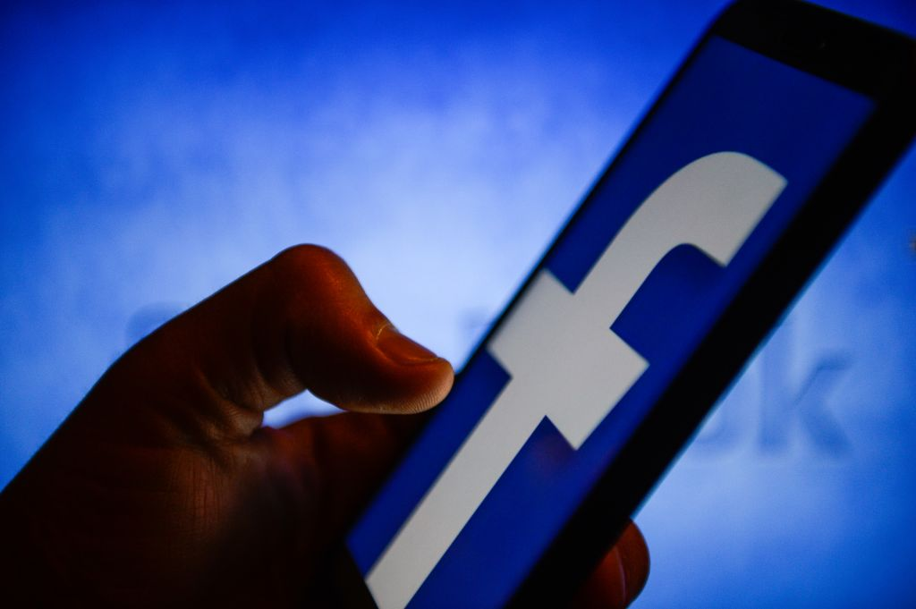 Facebook logo is seen on an android mobile phone...