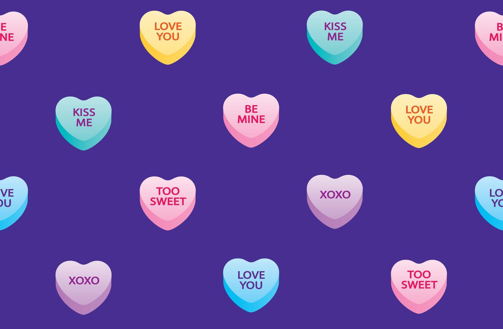 Valentine Candy Hearts Seamless Pattern