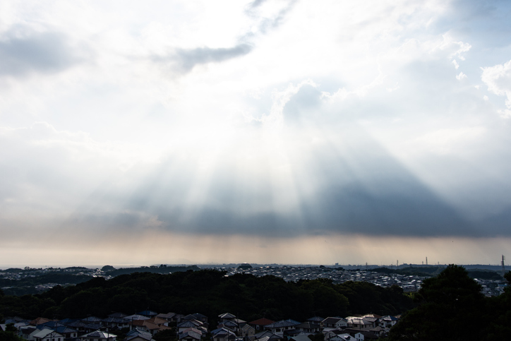 Sunset sunbeam on the residential district in Japan
