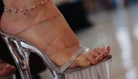 Exotic Dancer's Foot and Clear Platform High Heel