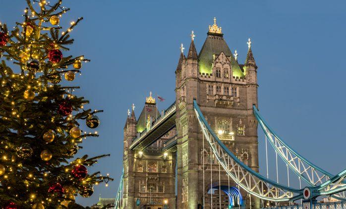 Christmas Tree and Tower Bridge at Night, London, UK