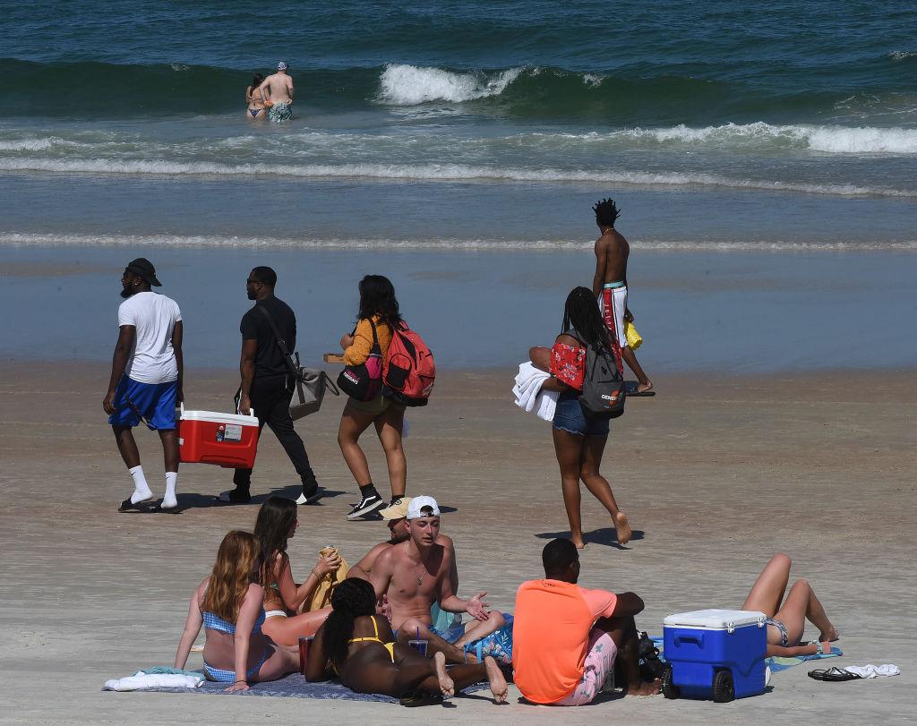 People enjoy the sun during a spring break at Daytona Beach...