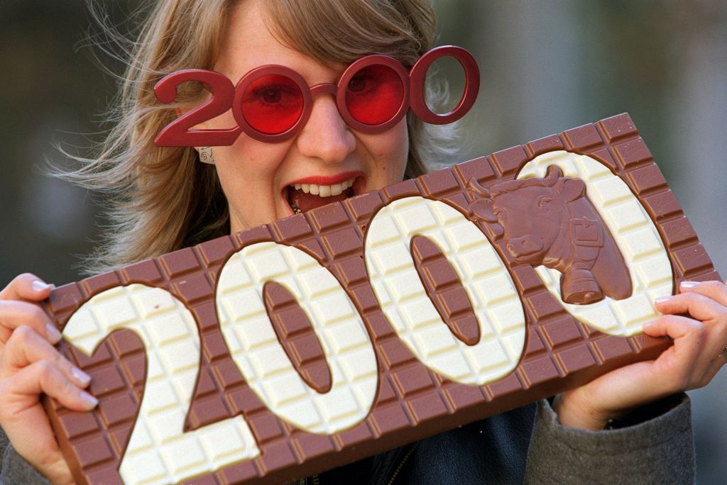 Millenniums-Schokolade und Blick nach 2000