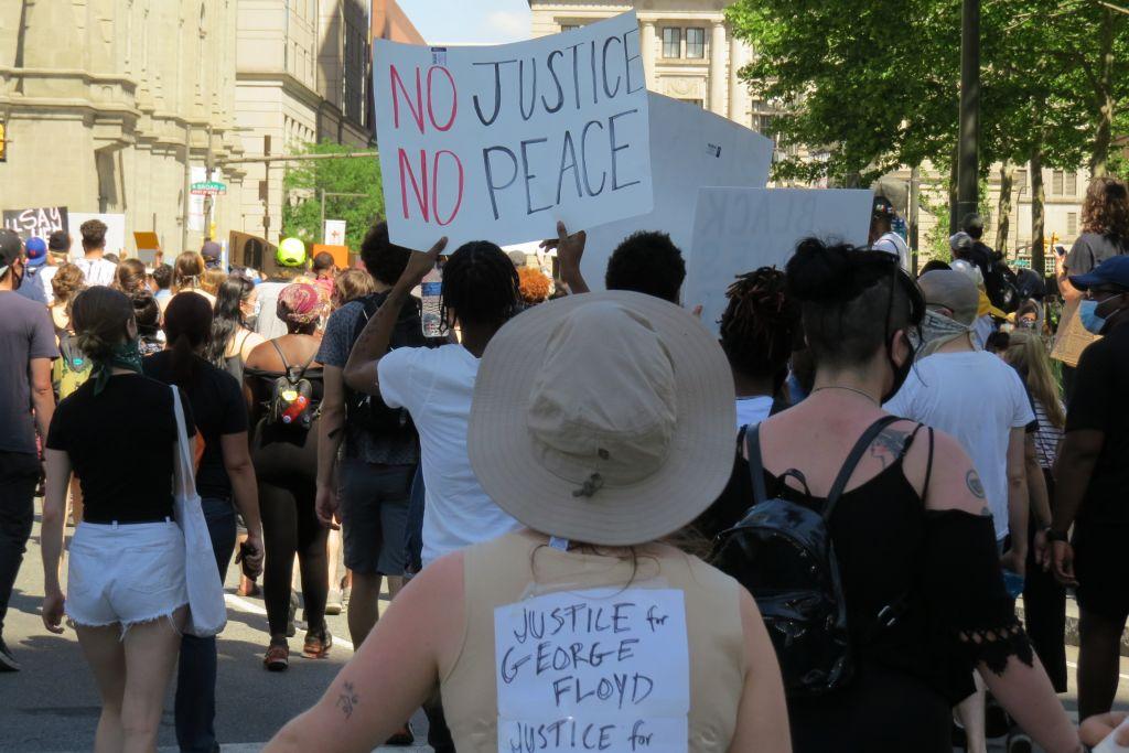 George Floyd protest in downtown Philadelphia, Pennsylvania