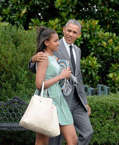 President Barack Obama and daughter Sasha depart the White House- DC